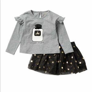 Kate Spade Chic Shirt Ruffle Top & skirt set